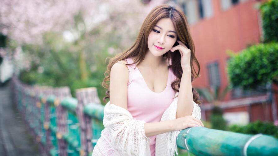 Asian Smiling Slim Busty Brunette Teen Girl Wallpaper