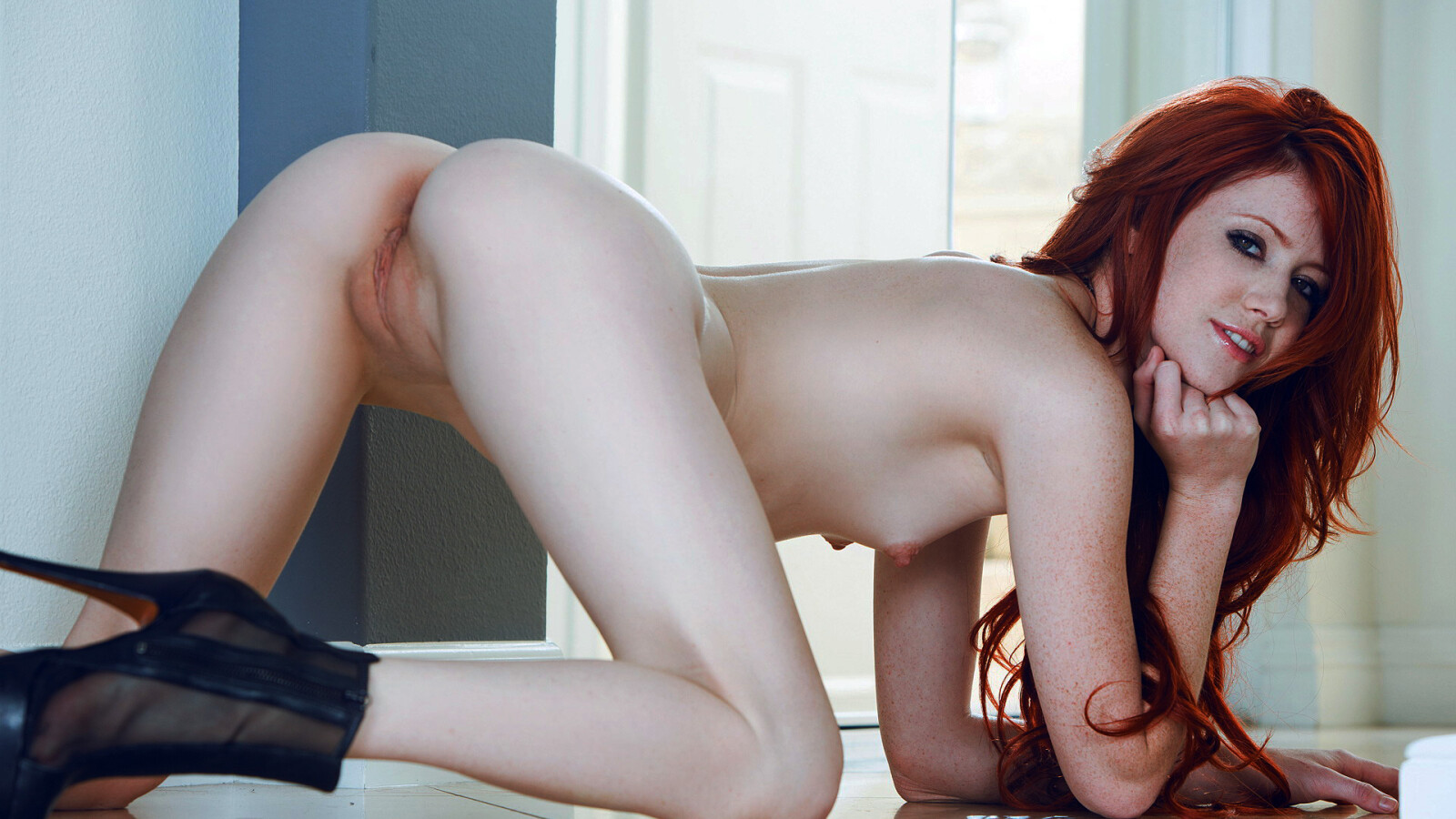 Nude Bend Over Doggy Style Shaved Pussy Elle Alexandra Red Hair Teen Girl Wallpaper #1982