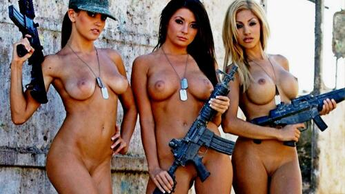 Nude Dangerously Badass Weapon Shaved Pussy Busty Blonde Brunette Girls Wallpaper #2243