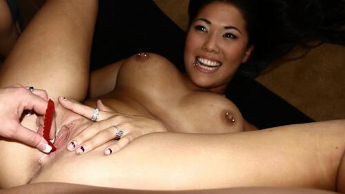 Nude Hot Smiling Pierced Asian Lesbian Girl Wallpaper #013