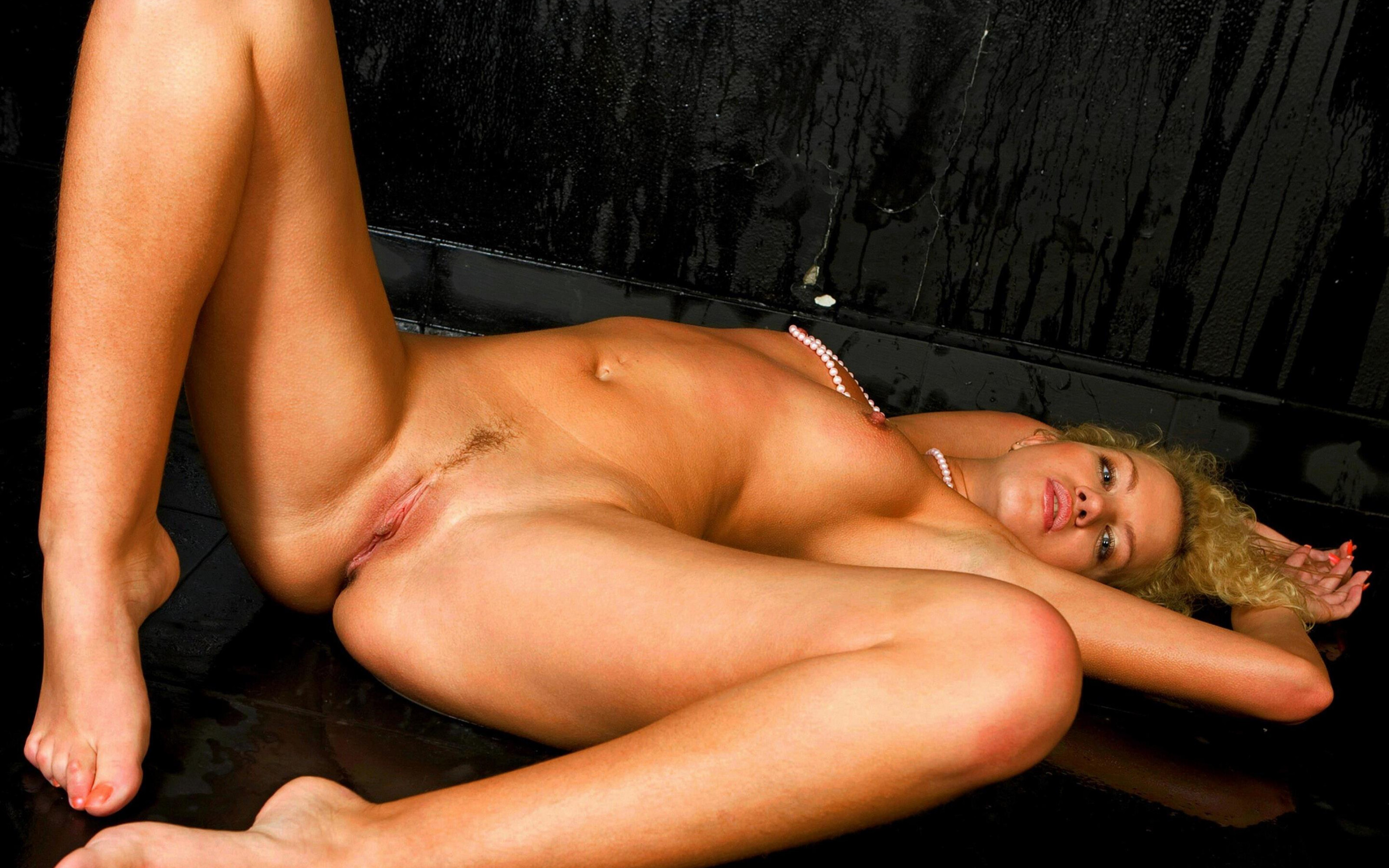 Nude Open Legs Half Shaved Pussy Wet Blonde Girl Wallpaper #1987